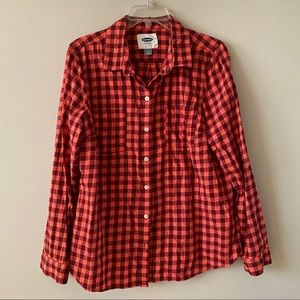 OLD NAVY red Plaid Shirt